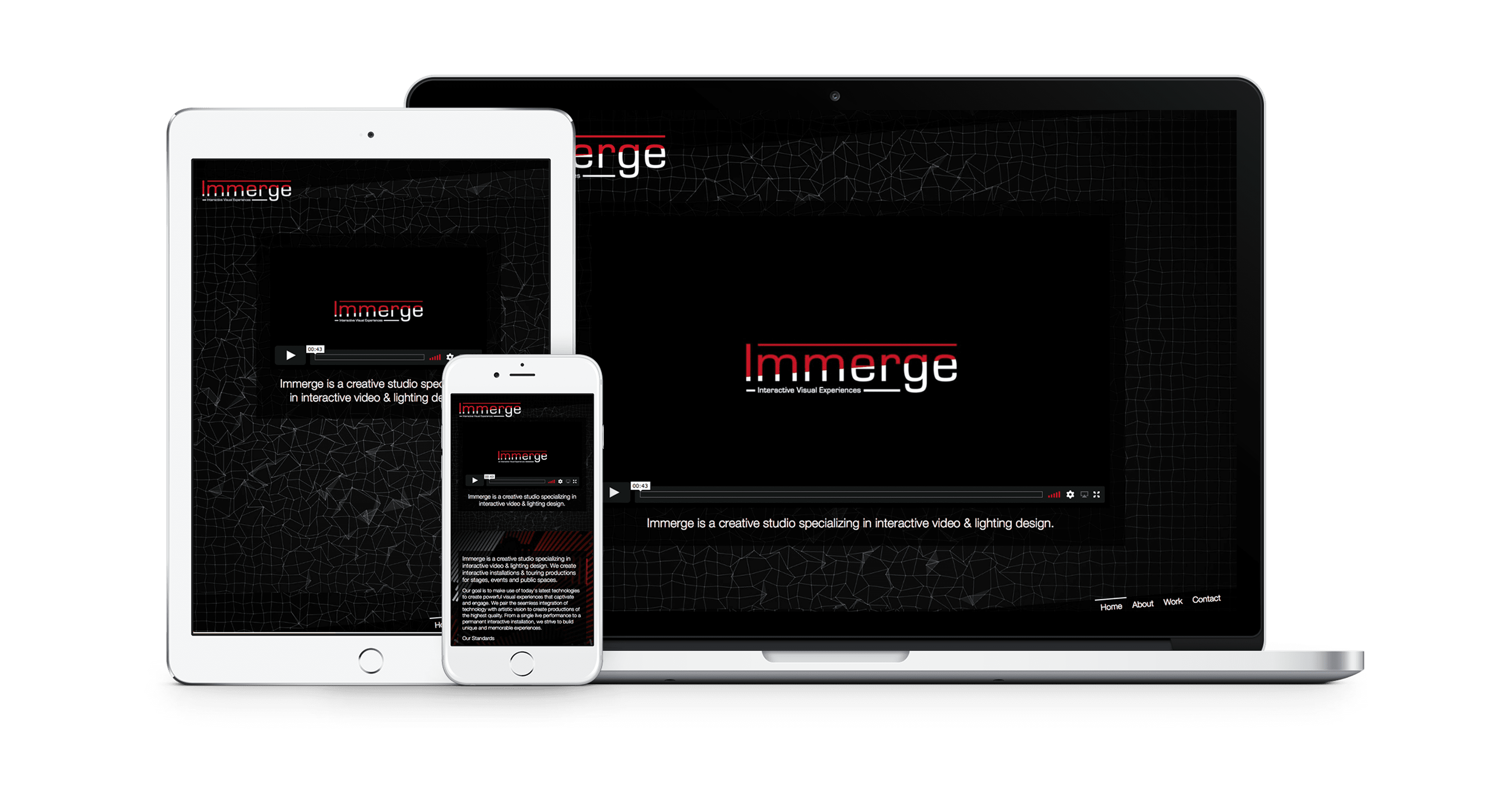 Immerge responsive website