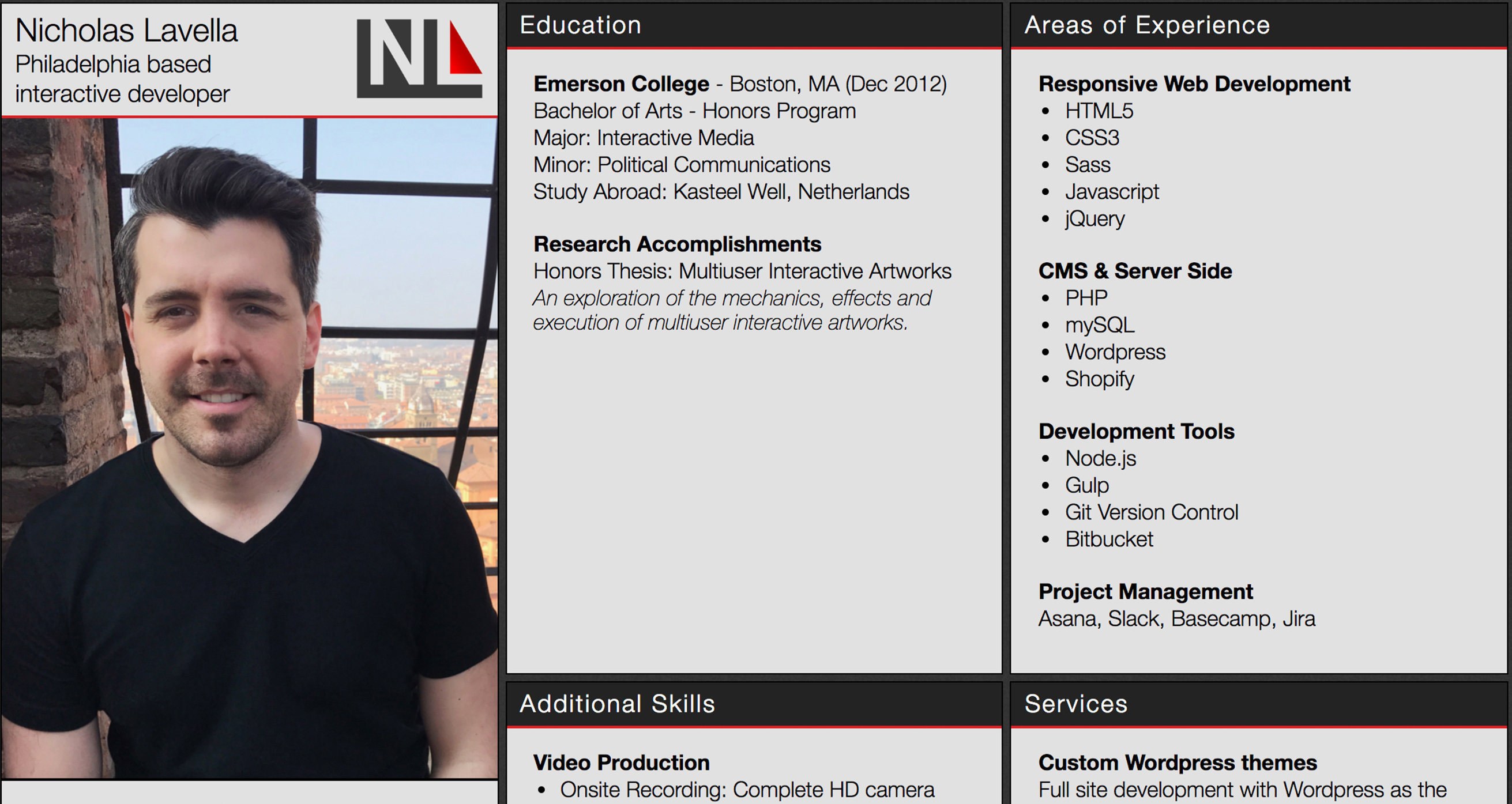 Nicholas Lavella resume with CSS Grid